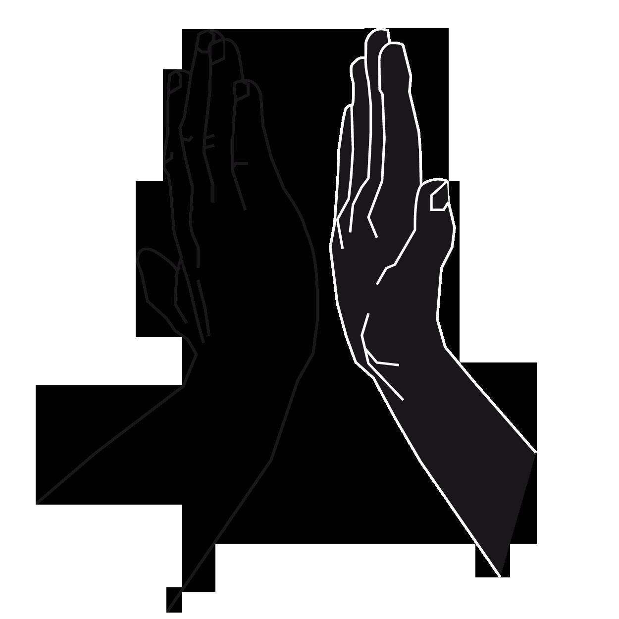 Zwei Hände, die einander abklatschen